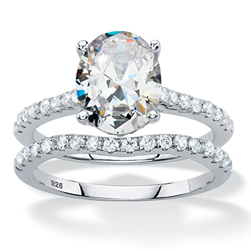 Platinum over Sterling Silver Oval Cut and Round Cubic Zirconia 2 Pair Bridal Ring Set Size 7