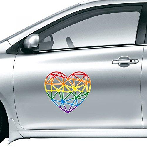 DIYthinker LGBT Stippling Arc-en-Gay Lesbian Transgenre Bisexuels Modelage Support Coeur Illustration de Voiture Autocollant de Voiture Styling Decal S 20Cm