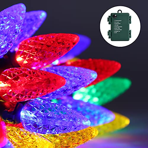 C6 Multi Color Christmas Lights Battery Powered 50 LED 16.4 ft 8 Lighting Modes Pre Lit String Lights Suitable for Outdoor Indoor Garden Party Terrace Garland Christmas Tree Decoration (with Timer)
