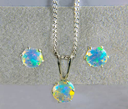 AAA+ grade, 4mm Round Opal, Natural Ethiopian Welo Fiery Opals in Sterling Silver Necklace or Earrings or SET. October birthstone.