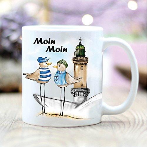 Wandtattoo-Loft® Bedruckte Keramiktasse 2 Maritime Möwen am Ostsee Strand in Warnemünde Moin, Moin/beidseitig/Tasse/Becher/Spülmaschinenfest/Kaffeetasse mit Motiv