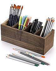 BSTKEY Houten Desktop Pen Potlood Houder met 4 Verstelbare compartimenten - Multifunctionele Media Opslag Organizer Caddy Home Office Desk Opslag Cup Pot, Vintage Natuur