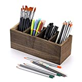 Sumnacon - Organizador de escritorio de madera con 4 compartimentos extraíbles para el escritorio (estilo vintage natural)