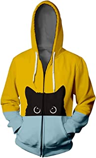 Fubotevic Womens Stitching Slim Zipper Open Winter Hooded Sweatshirts Tops