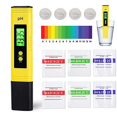 Colmanda PH Messgerät, Digitales pH Messgerät Wasserqualität Tester mit LCD Anzeige PH Wert Messgerät Digital ATC Wasserqualität Tester für Trinkwasser, Lebensmittel, Schwimmbäder und Andere - Gelb