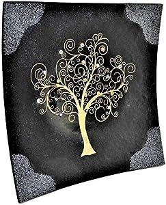 Sospiri Venezia - Centro de mesa de cristal de Murano con árbol de la vida,30x30cm,técnica de vitrofusión,decoración murrinas de Murano y hoja dorada,hecho a mano por artesanos venecianos(40x40,negro)