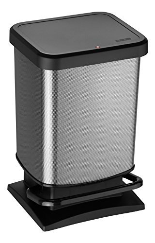 Rotho Paso, Cubo de basura de 20l con pedal y tapa, Plástico PP sin BPA, carbono metálico, 20l 29.3 x 26.6 x 45.7 cm