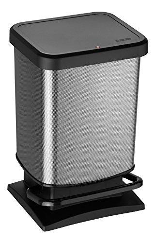 Rotho Paso Mülleimer 20l mit Pedal und Deckel, Kunststoff (PP) BPA-frei, carbon metallic, 20l (29,3 x 26,6 x 45,7 cm)