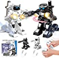 Armoredbot RC Dueling Titans War, RC Boxing Battle Game Fighting Robots Toy, 2 Player Remote Control 2.4g Humanoid Fighting Robot Fight to Win! 5 Punches to K.o. Your Opponent! (Black & White)