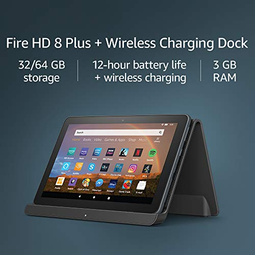 Fire HD 8 Plus tablet | HD display, 32 GB - without Ads, our best 8' tablet for portable entertainment + Made for Amazon wireless charging dock by Angreat