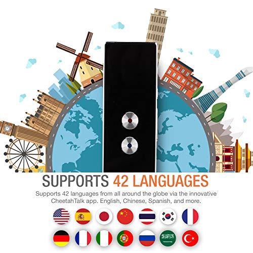 Diyeeni Tragbarer Übersetzer Gerät mit 40 Sprachen, Intelligente Sprachübersetzer in Echtzeit Zwei Weg Sprache Unterstützt Foto Übersetzung Bluetooth 4.2 für iOS Android Geräte -Schwarz/Weiß(Schwarz)