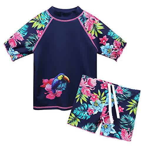 HUAANIUE Kinder Bademode Set Badeanzug mit UV-Schutz Sommer Strand Sonnenschutz Kleidung,Blumen,7-8 Jahre(Etikett 8A)