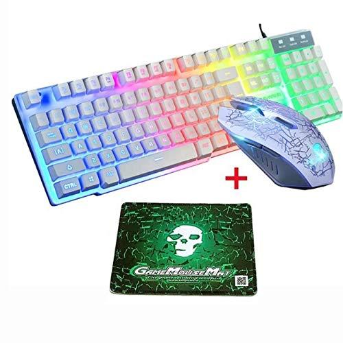 Bsopem Toetsenbord en muis set, waterdichte LED backlit gaming toetsenbord muis set, USB 2.0 ergonomische 104 toetsen toetsenbord gaming muis, bedrade toetsenbord muis kit voor Windows OSX Vista