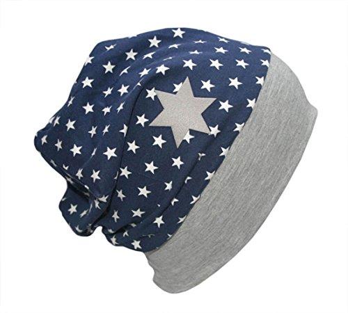 Farbgewitter Jungen Baby Beanie Mütze ROBO Hero mit Sternen in blau Größe M (KU 54-56)