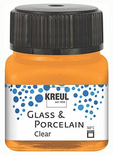 Kreul 16292 - Glass und Porcelain Clear, transparente Glas- und Porzellanmalfarbe auf Wasserbasis, schnelltrocknend, glasklar, 20 ml im Glas, orange