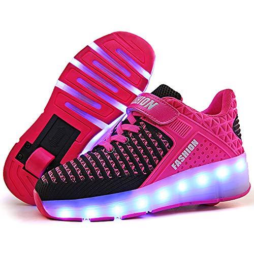 Zapatillas con ruedas zapatillas luces niña zapatos con ruedas para niños zapatillas luces led Zapatillas de skate con ruedas zapatillas skate Automática Ruedas Ajustables para Niños Niñas,Rosado,30