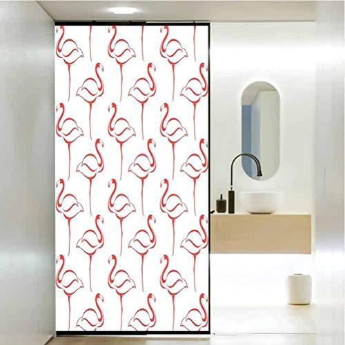 Película de privacidad para ventana de vidrio esmerilado, diseño de flamenco, Big Birds Caribbean Ex, decoración de baño para el hogar, 17.7 x 78.7 pulgadas