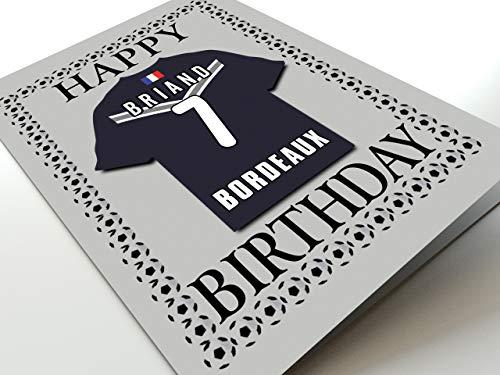 MyShirt123 UEFA Champions League & Euro League Fußball Themed Geburtstagskarten – jeder Name, Jede Nummer und jedes Team – kostenlose Personalisierung, FC Girondins de Bordeaux Geburtstagskarte