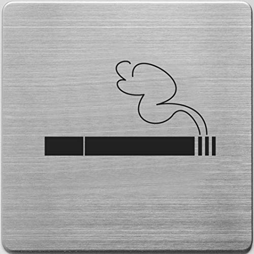 "Alco-Albert 450-12 - Piktogramm""Rauchen ja"", Edelstahl gebürstet, 9 x 9 cm, 1 Stück"