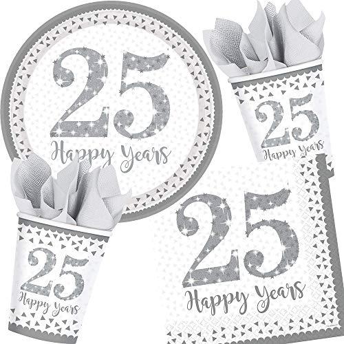 Neu: 73-TLG. Party-Set * 25 Jahre * für die Silberhochzeit | Teller + Becher + Servietten + Luftballons | Motto Silber Hochzeit Heirat Jubiläum Deko