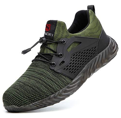 [SUADEX] 安全靴 スニーカー 作業靴 ワーキングシューズ 鋼先芯 通気性 耐油 セーフティーシューズ 耐滑 衝撃吸収 耐摩耗 メンズ レディース 830 グリーン 47