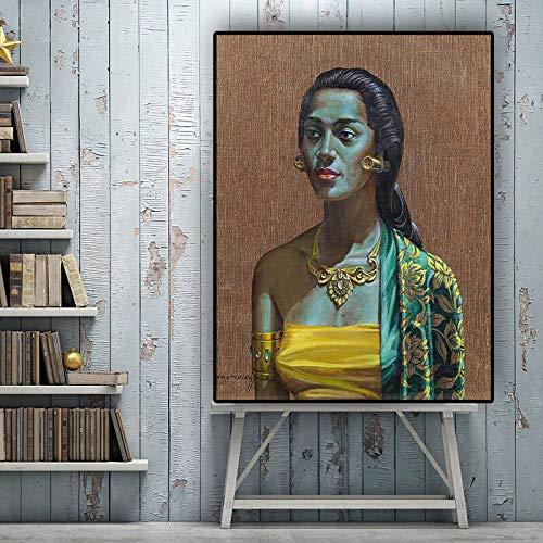 Cartel balinés e impresión Retrato niña Pintura al óleo Sala Mural sin Marco Pintura 21cmX28cm