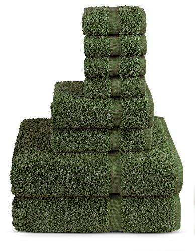 8 Piece Turkish Luxury Turkish Cotton Towel Set (Moss) - Eco Friendly, 2 Bath Towels, 2 Hand Towels, 4 Wash Clothes by Turkuoise Turkish Towel