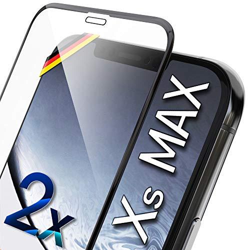 UTECTION 2X Full Screen Schutzglas 3D für iPhone XS MAX - Perfekte Anbringung Dank Rahmen - Premium Displayschutz 9H Glas - Kompletter Schutz Vorne - Folie Schutzfolie Schutzglasfolie Ultra Clear