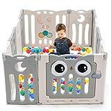 COSTWAY Box Recinto per Bambini con 12 Panelli, Barriera di Sicurezza Centro Attività per Interno e Esterno, in HDPE (Beige)