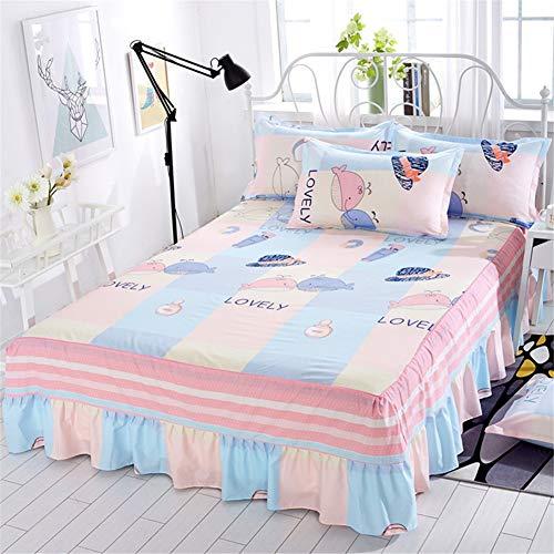 CQZM Rüschen Drucken Bettrock Tagesdecke Elastic Wrap Around Style Bettvolant Babybett Staubdicht rutschfest Bed Skirt Für Single Double Queen EtcL-180x220cm(71x87inch)