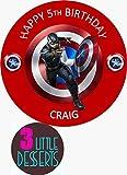 Decoración para tarta personalizada de Capitán América sobre lámina de glaseado comestible premium redonda de 19 cm, decoración de fiesta de cumpleaños cualquier texto