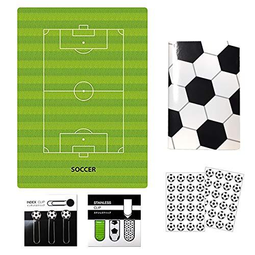 PIANSサッカー下敷き+サッカーノート(A6サイズ)ミシン綴じタイプ1冊+インデックスクリップ+アートクリップ+シール2枚セット プライム