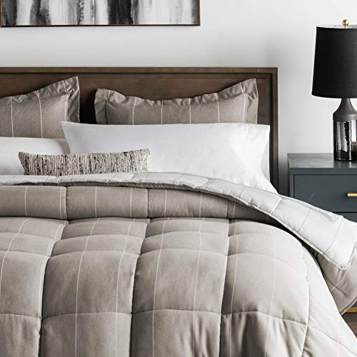 MALOUF Chambray Comforter Set - Classic Pin Striped Chambray Inspired Fabric - Includes Pillow Shams - Down Alternative - Hypoallergenic - All Season-Box Stitched Design - Birch - Oversized Queen