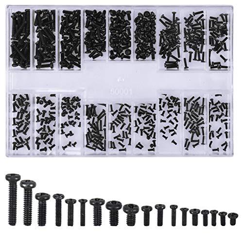 Schrauben Set, 500 Stück M1.2 M1.4 M2 Computerschrauben Laptop Mikroschraube Set mit Aufbewahrung Box für Universal Laptop PC Computer Brillengestell Armbanduhr Reparatur Zubehör, Schwarz