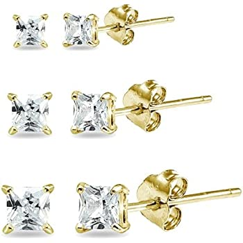 9mm 3mm TIONEER 14K Solid Gold or Sterling Silver Stud Earrings for Women and Men Cubic Zirconia Round Cut /& Princess Cut, White, Yellow, Rose, Black, Silver