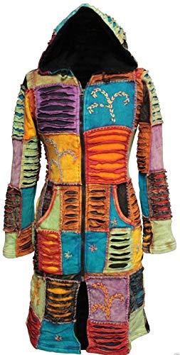 SHOPOHOLIC FASHION Pixie mit Kapuze Bestickt Lagen Lange Jacke - Mehrfarbig, Mehrfarbig, L