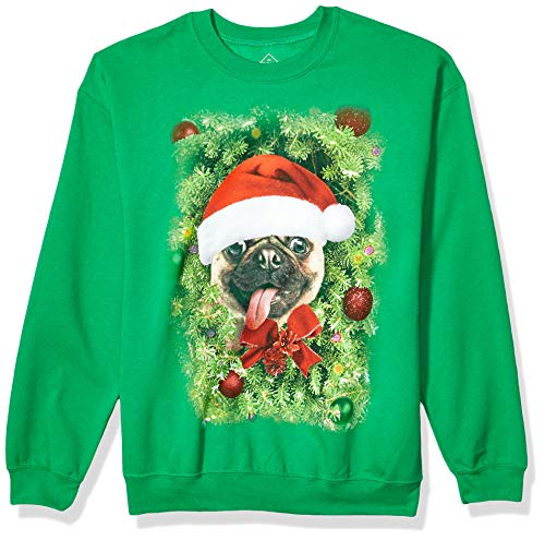 Hybrid Apparel Unisex-Erwachsene Christmas Ornament Pug Fleece Hemd, Dekofigur Mops, Kelly Grün, Klein