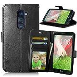 Funda LG G2 D800 D801 D802 LS980,Bookstyle 3 Card Slot PU Cuero Cartera para TPU Silicone Case Cover-Negro