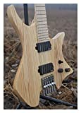 2018 New NK Headless guitar Fanned Fret guitars Model Wood Clear Color Flame maple Neck Guitar (Size : 37 inches)
