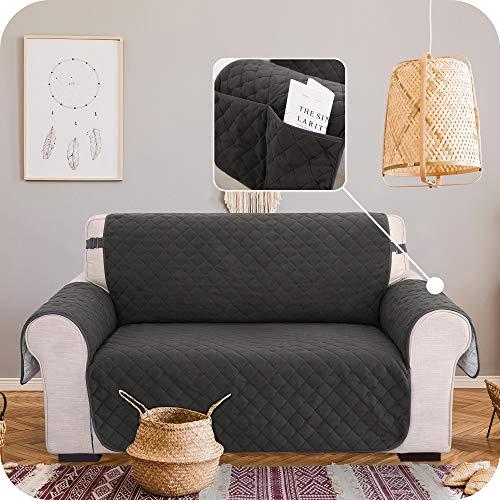 Amazon Brand – Umi Funda para Sofa Decorativa de Salon 2 Plazas Gris Oscuro