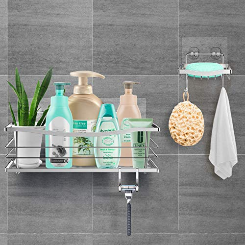 ODesign Adhesive Shower Caddy Shelf With Soap Dish Holder for Shampoo Conditioner Sponge Razor Kitchen Bathroom Basket Organizer Wall Mounted Stainless Steel Removable 2 Hooks