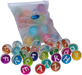 Lsmaa Bouncy Balls Set Mini Rubber Bouncing Ball Toys with Letter Inside for Party Favors Stocking Stuffer Rewards