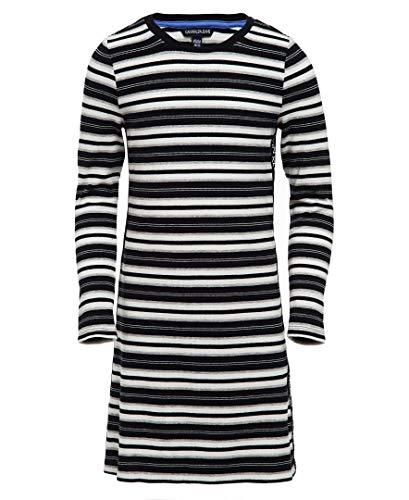 Calvin Klein Big Girls' Long Sleeve Solid Dress, Logo Stripe Tape Anthracite, M8/10