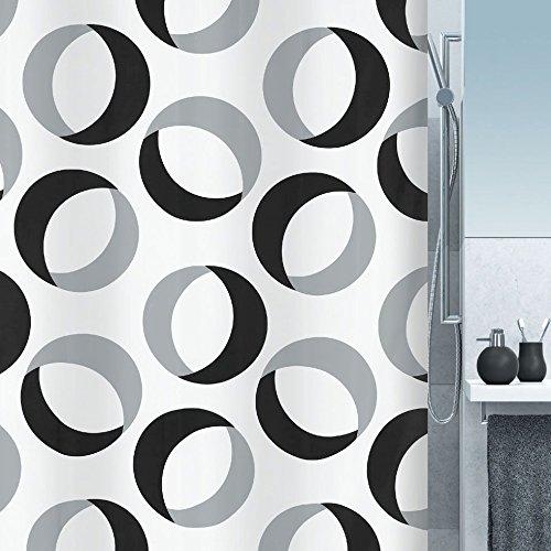 "Spirella Anti-Schimmel Duschvorhang - Anti-Bakteriell, waschbar, wasserdicht, Polyester, ""Rings"" 180x200cm Weiß"