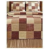 Cheston Patchwork Block King Quilt 4 Pc. Set - Primitive Country Burgundy
