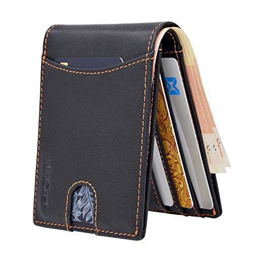 WinCret Portafoglio Uomo Sottile in Pelle - Portafogli Frontale con tasca portamonete nascosta e 6 slot per schede - Porta carte di credito di protezione RFID Portafoglio piccolo in vera pelle