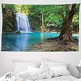 ABAKUHAUS Bosque Tapiz de Pared y Cubrecama Suave, Cascada Asia Tailandia Jungla Trópico Planta Árbo...