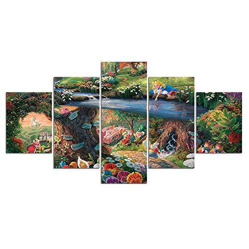 xiaolaji 5 Panel Wandkunst Hd Leinwand Malerei Modulare Tapeten Thomas Kinkade Alice im Wunderland Dekoration F271 Poster-size2:30x40cmx2;30x60cmx2;30x80cmx1