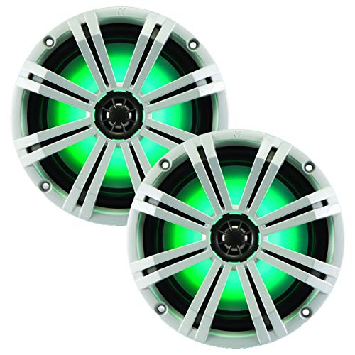 Kicker KM8 8-INCH (200mm) Marine Coaxial Speakerswith 1' tweeters,LED Charcoal and White Grilles,4-OHM