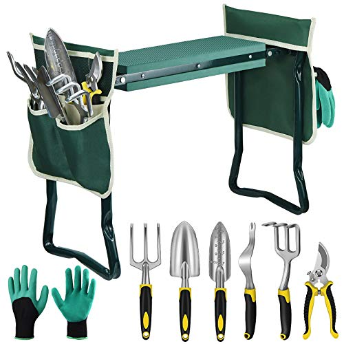 EAONE Garden Kneeler and Seat Foldable Garden Bench Stool with Soft Kneeling Pad, 6 Garden Tools, Tool Pouches and Gardening Glove for Men and Women Gardening Gifts, Protecting Your Knees & Hands
